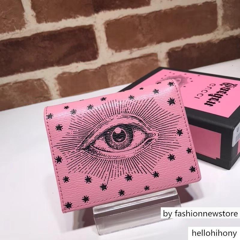 Calidad superior de diseño de lujo Celebrity LetterPrinting ojos de estrella doble Cartera de piel rosada verdadera 516.929 Breve embrague del monedero