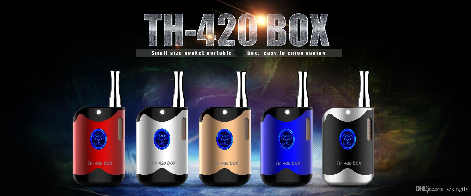 원래 Kangvape TH420 Vape 상자 키트 650mAh 다양한 전압 TH420 배터리 박스 모 0.5ml의 두꺼운 기름 카트리지 전자 담배 키트