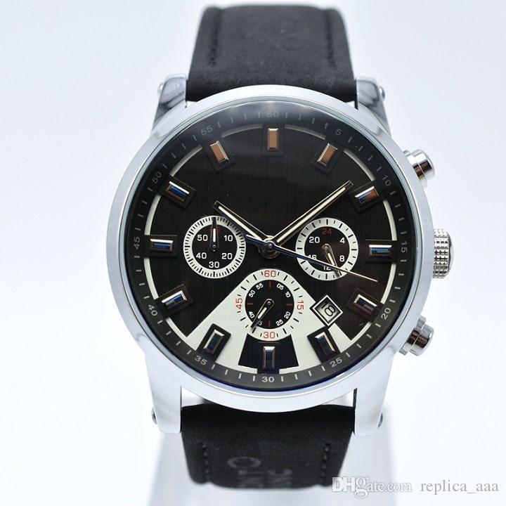 In vendita 42 millimetri cronografo casuali di cuoio del quarzo uomini della vigilanza progettista giorno Date Mens militari guarda i regali all'ingrosso orologio degli uomini Montre homme