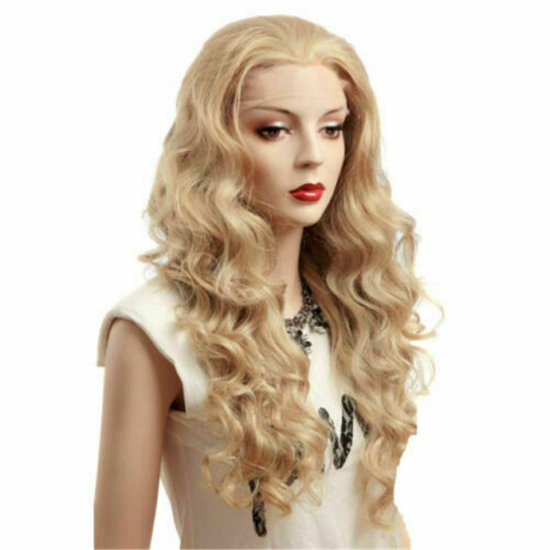 Lace Front Wig New Fashion Glamour Fluffy Long Blonde Wavy Natural Full Wigs