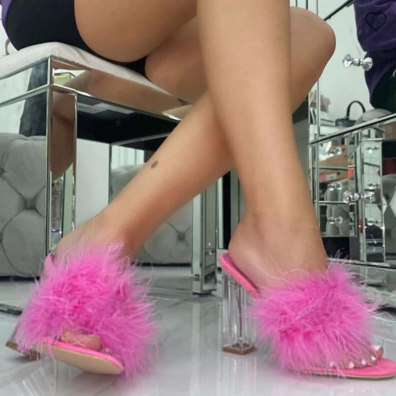 Talón del verano cristalino transparente piel sandalias Flops Chunky de la venta caliente de las mujeres-bomba del partido del vestido sandalias para la señora