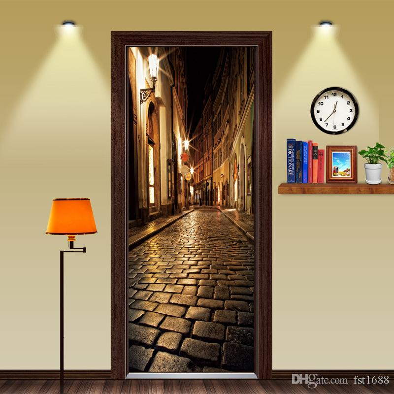 Retro 3d Brick Alley Door Sticker Mural Wallpaper Mural Home Decor For Bedroom Living Room Kids Room Poster Art Decal Waterproof Home Decor Wall Stickers Tree Wall Stickers Uk From Fst1688 30 13