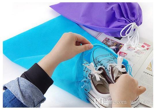 40 cm * 30 cm saco no tejido con bolsa de almacenamiento de cuerda múltiples colores para ropa de zapatos a prueba de polvo envío gratis