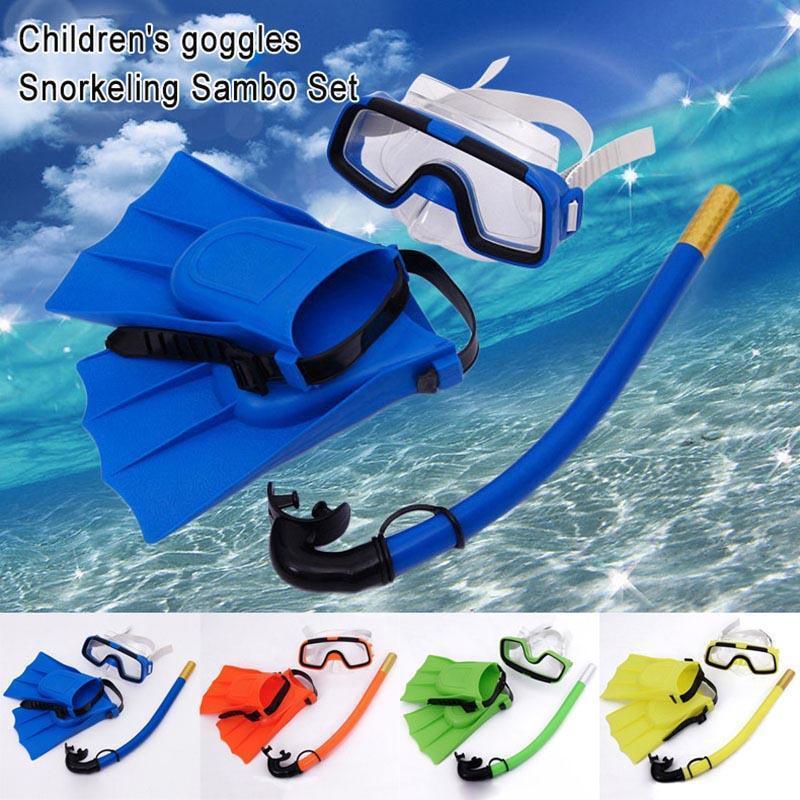 Kindertauchmaske Set Anti-Fog Schwimmbrille Masken Schnorchel Flossen Kit für Kinder Jungen Mädchen YS-BUY SS-18