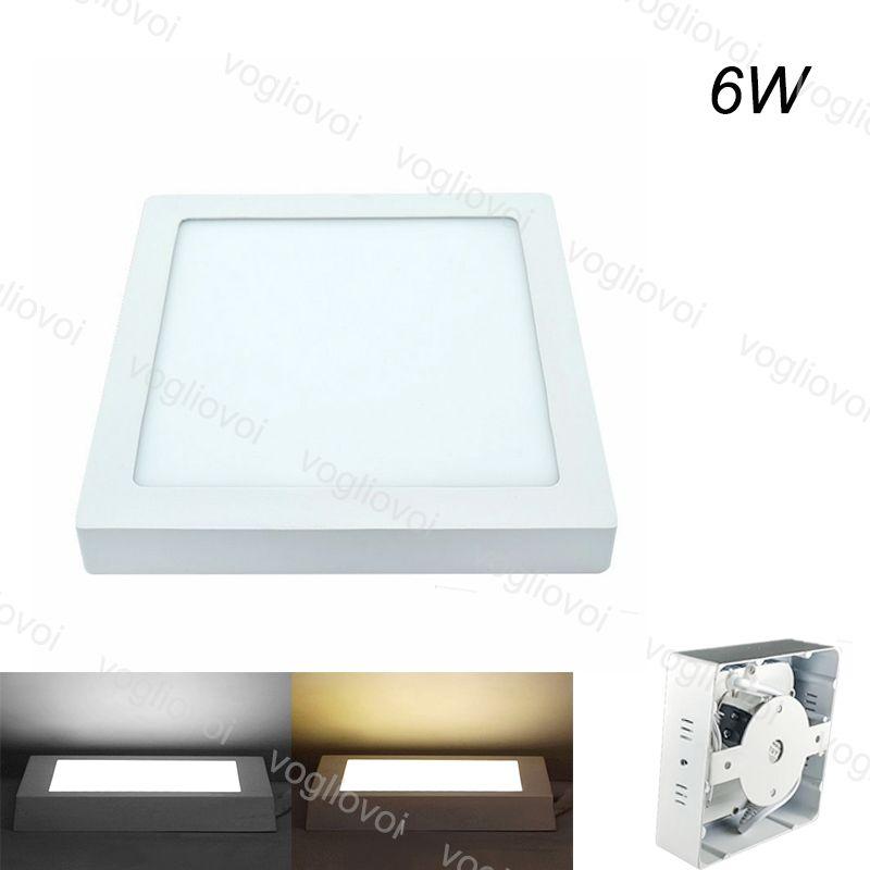 Downlights Square Surface 6w 118x118mm Face AC110V 240V Alumínio Acrílico Side Emitindo White White para Quarto Cozinha Corredor DHL