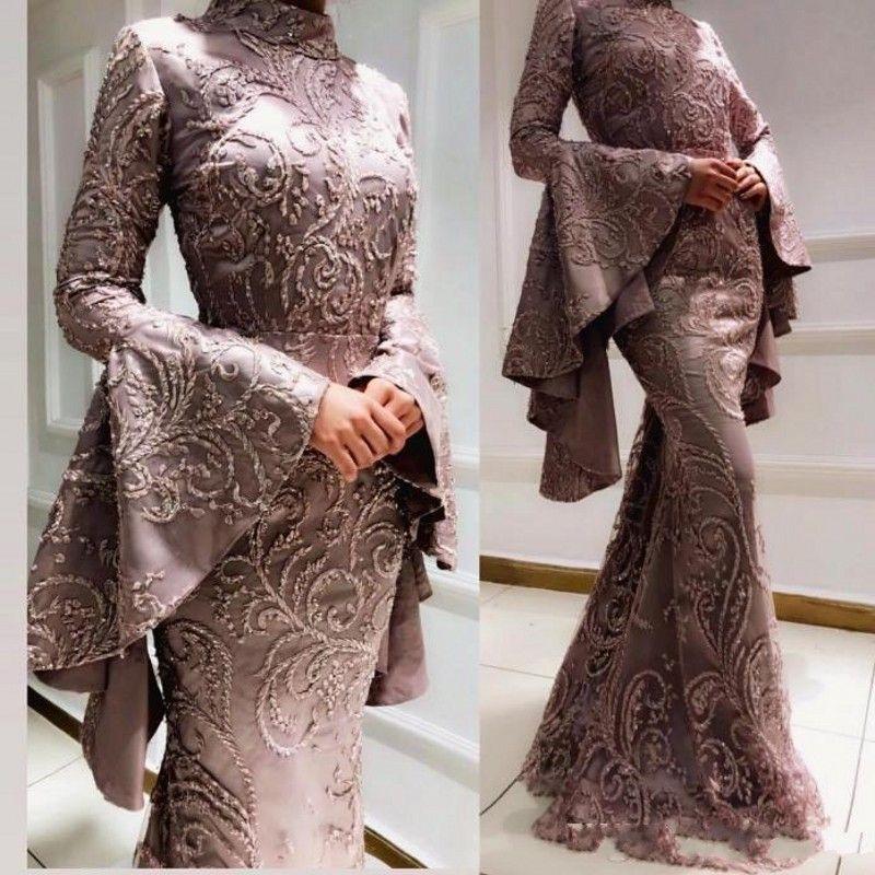2020 annata arabo musulmano del ricamo della sirena sexy Prom Dresses rilievo maniche lunghe in raso da sera formale abiti Pageant
