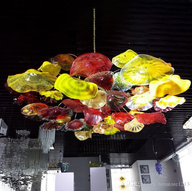 Nordic Hand Blown Glass Art Ceiling Lighting Decorative Flower Chandeliers Light Italian Murano Plates Pendant Chandelier Lamps