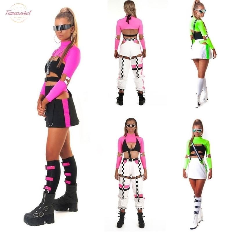 Vêtements pour femmes Sexy Cool Women manches à col roulé Fluorescence long solide Party Club Chemisier courtes Tops shirt
