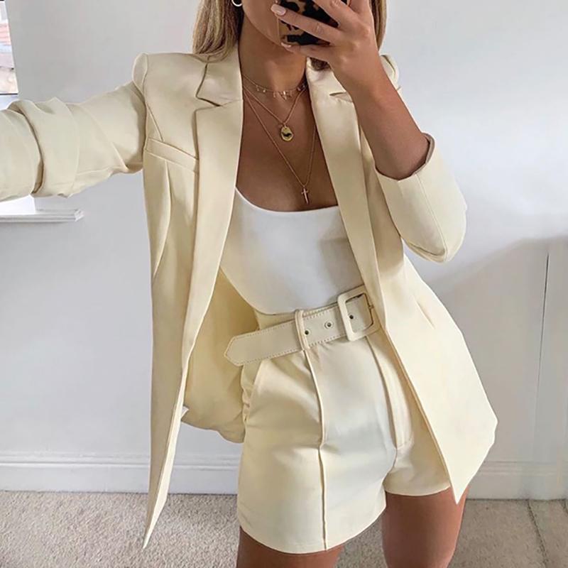 Trajes 2019 Pink Blazer Traje Top Shorts 2 Dos Piezas Conjunto Con Cinturón Otoño Invierno Mujer Streetwear Coat Chaqueta Conjuntos Office GV993