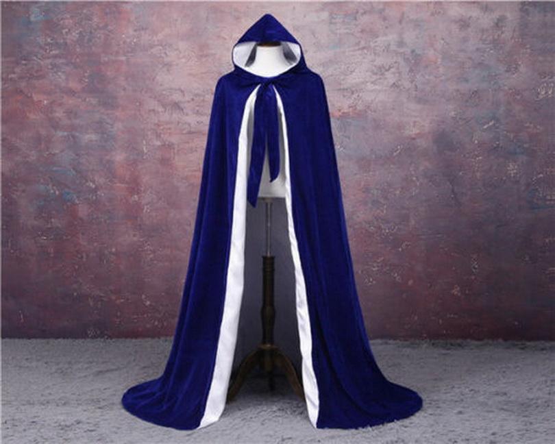 Hochzeit im Freien Mantel Königsblau und WhiteLined Samt-Mantel Mittelalterliche Cape Frauen-Winter-Außen Hochzeit Umhang