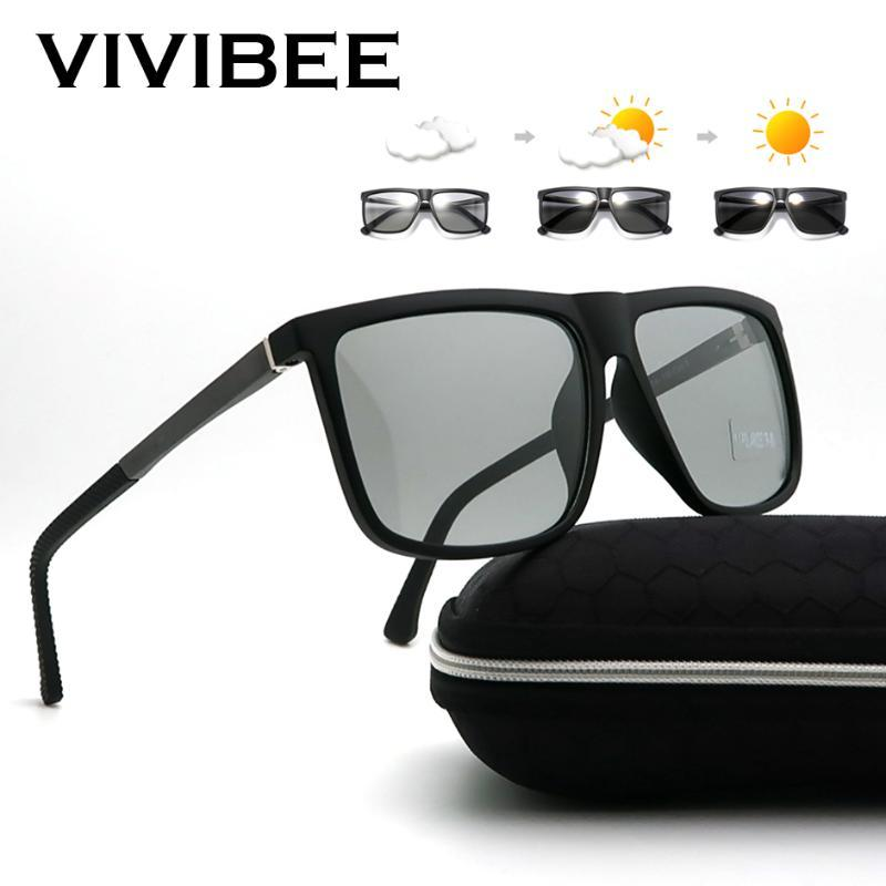 VIVIBEE Rectangle Oversized Photochromic Sunglasses Polarized Men 2019 Women TR90 Day and Night Vision Driving Sun Glasses