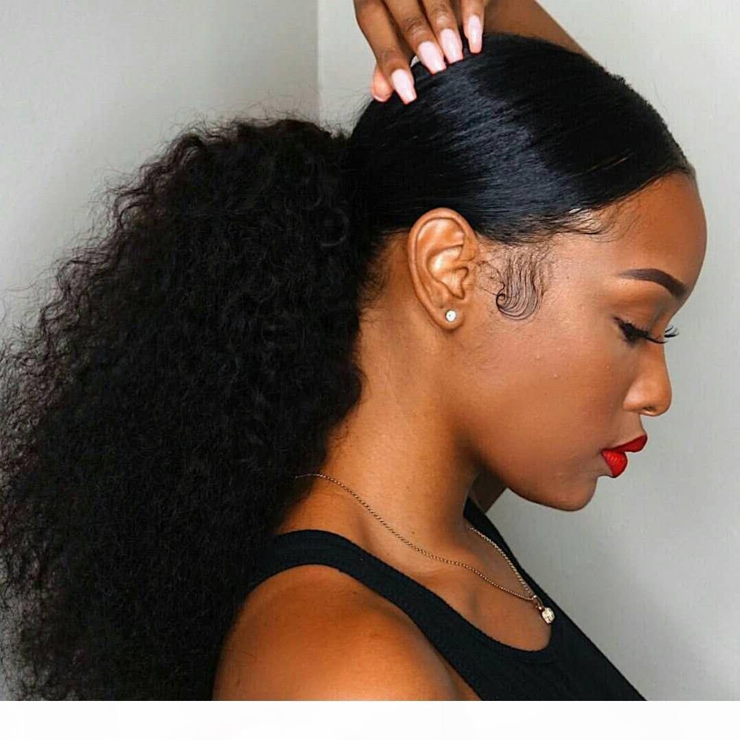 Afro Kinky bouclés postiche Ponytail humaine Pour Vierge Noire Femmes brésilienne cheveux Ponytail Hair Extensions Drawstring 10-24 pouces