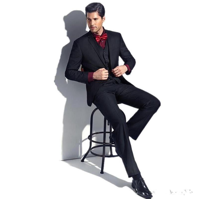 Yeni Siyah Slim Fit Erkekler İş Balo Suits Giymek Slim Fit 3 Parça (Ceket + Pantolon + Yelek) Erkekler Düğün Damat Smokin Suits Best Man Blazer 277