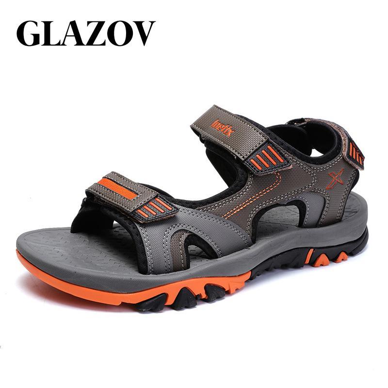 GLAZOV Marke Sommer Männer Sandalen Hookloop Herren Sommer Schuhe 2018 Mode Wasserdichte Beiläufige Strand Schuhe Große Größe 40-45 Orange