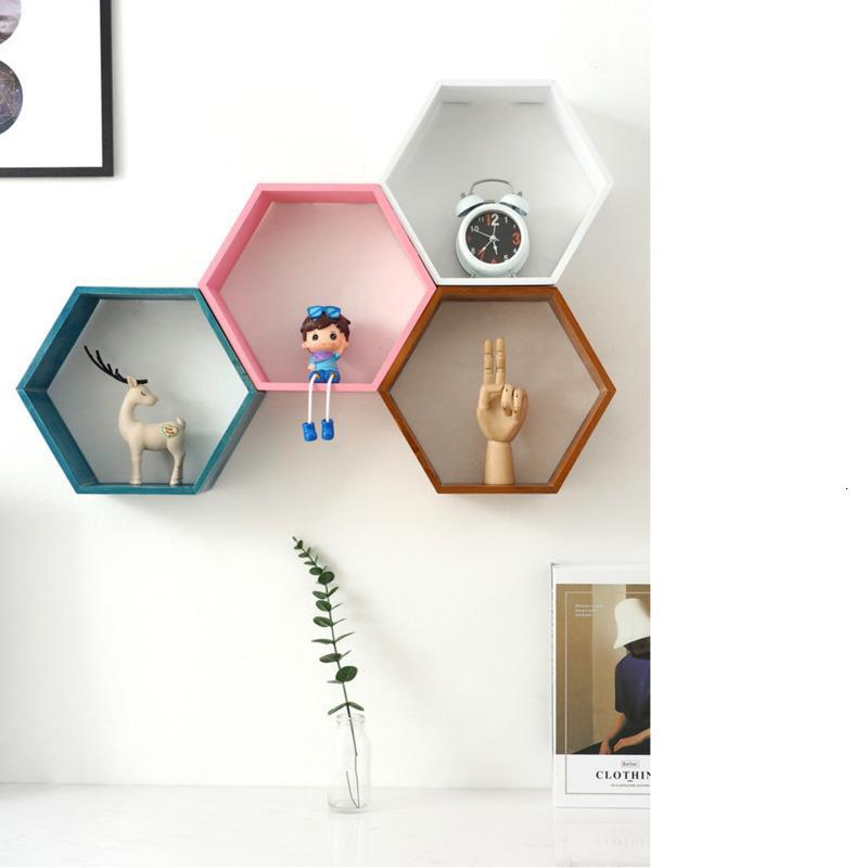 Hexagonal décoratifs Shelf Chambre d'enfant Living Chambre Tenture Partition de chambre à coucher Bibliothèque punch gratuit