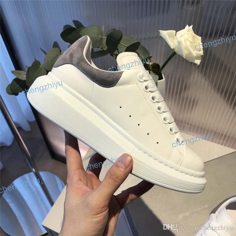 Neue Saison Top-Qualität beiläufigen Schuh-Mode für Frauen Herren-Leder-Lace Up Grau Schwarz Blau Rot Velet Plattform Maxi-Sole-Turnschuhe mit Kasten