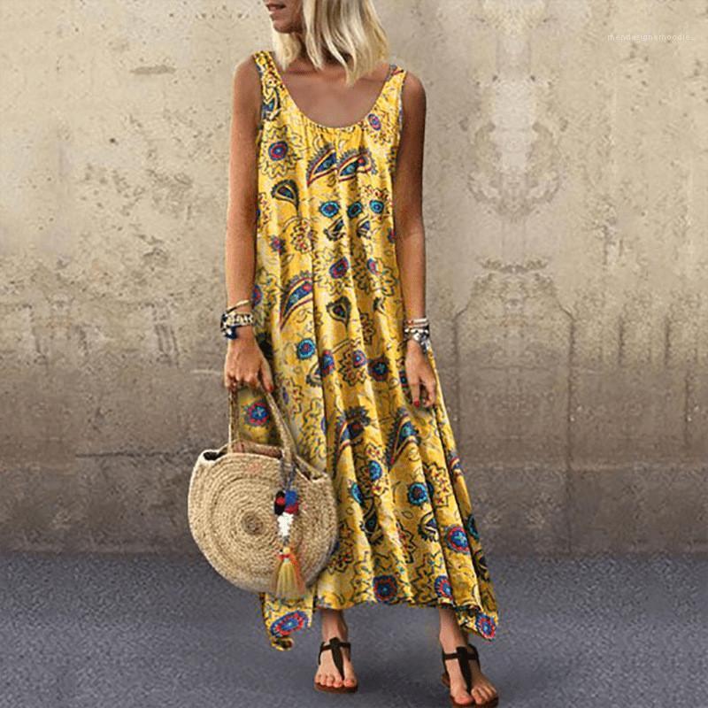 خط عارضة النساء ملابس الصيف الزهور أكمام الفساتين النسائية O الرقبة فضفاض السيدات المدرج فساتين A