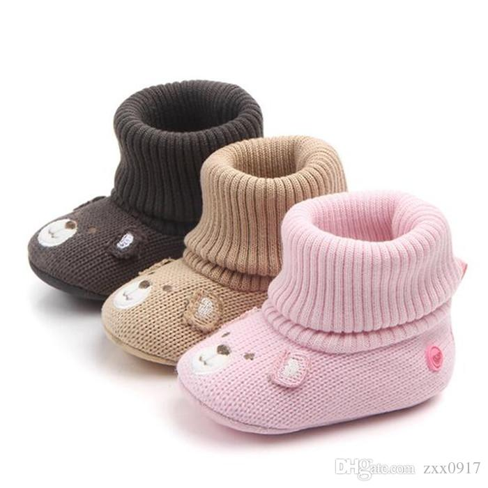 Hot Baby Girl Shoes Boots Winter Warm Newborn Toddler Shoes for Babies 3 Colors Infant Prewalkers Soft Sole knitting Boots