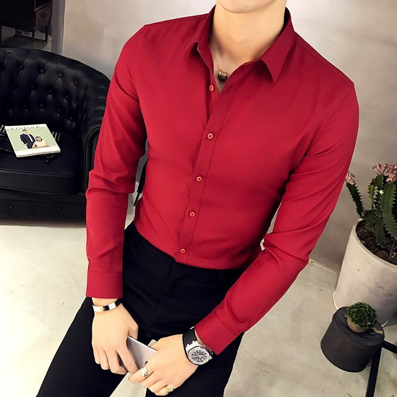 Camisas dos homens camisas de manga longa Oxford Slim-Fit Color Sólida Macho Negócio Casual Versão Coreana Escritório desgaste