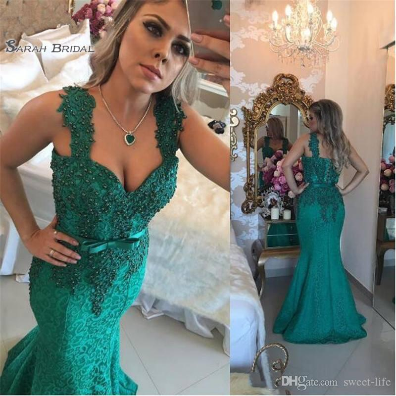 2019 Hunter Green Long Mermaid Evening Dresses Spaghetti Straps Pearls Sash Lace Applique Evening Gowns Party Dress