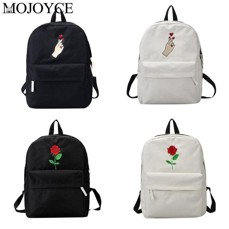 Unisex Students Embroidered Roses Loves Canvas Backpack Casual School Bag