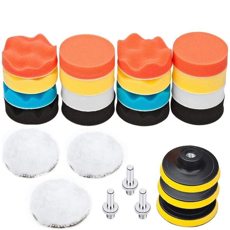 25 Pack 3 pouces polissage, éponge tampon Pads Kit M10 Perceuse Adaptateur, composé voiture automatique Polisseuse