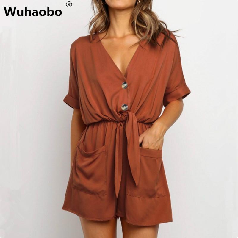 Wuhaobo 2020 nuovo di estate tute Moda manica corta V Pulsante solida del collare del pagliaccetto elastico in vita Donne Tuta casuale