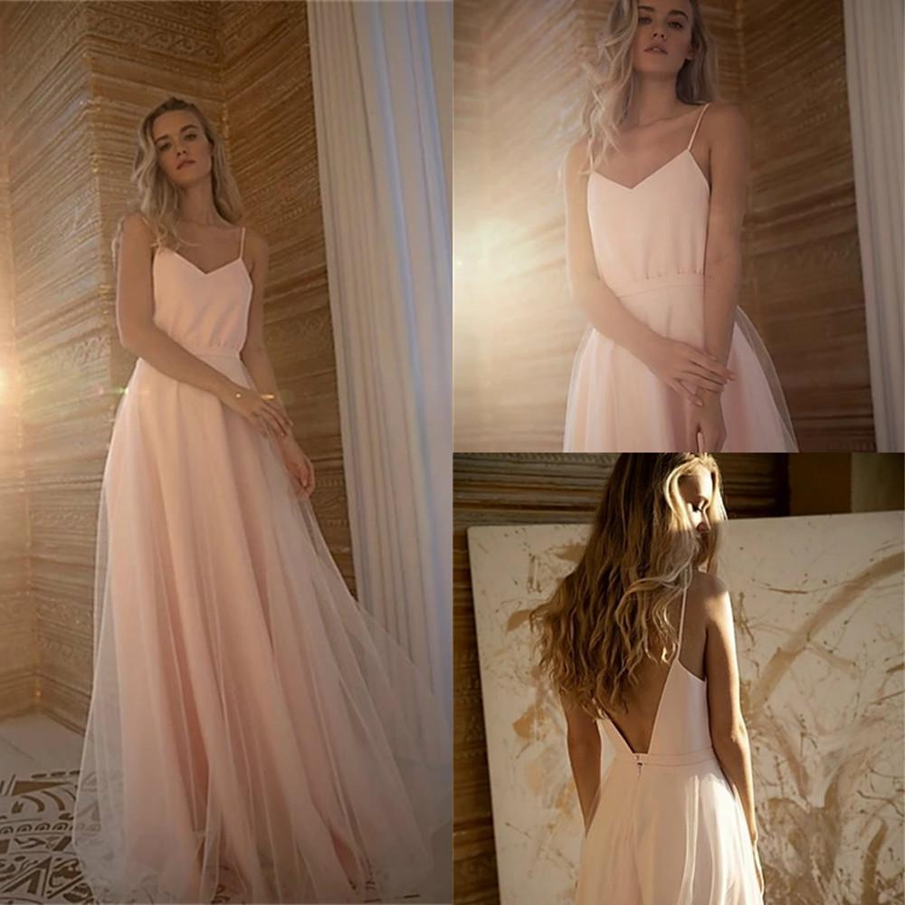 Sexy Spaghetti A-Line Bridesmaid Dresses Tulle Summer Wedding Guest Gowns Backless Sweep Train Bridesmaid Dress Vestido De Novia