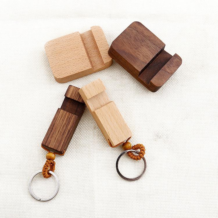 Madeira Keychain Phone Holder retângulo de madeira Chaveiro suporte Cell Phone Cadeia Base de Melhor Key presente 2 estilos Partido FavorT2C5133