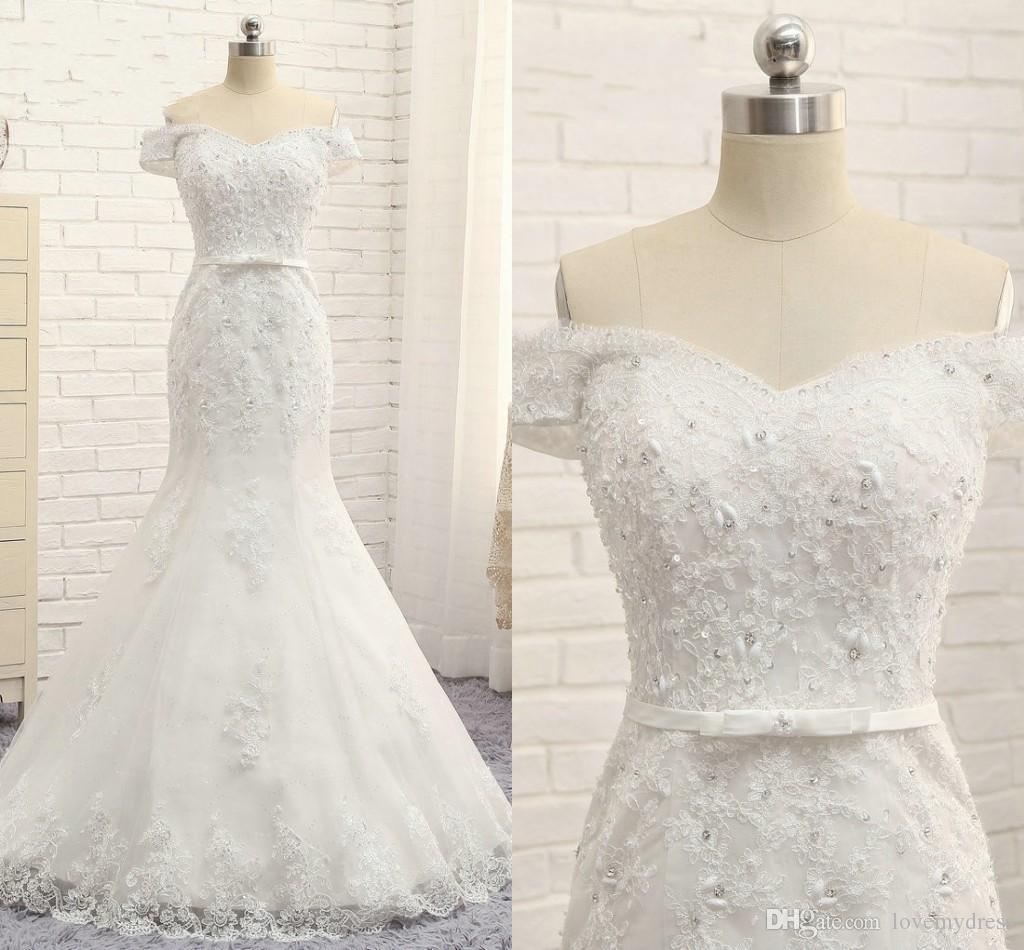 Gothic Lace Applique Rhinestone Beaded Wedding Dresses Mermaid 2020 Real Image Off Shoulder Sleeves Lace-up Bridal Gowns Plus Size Party