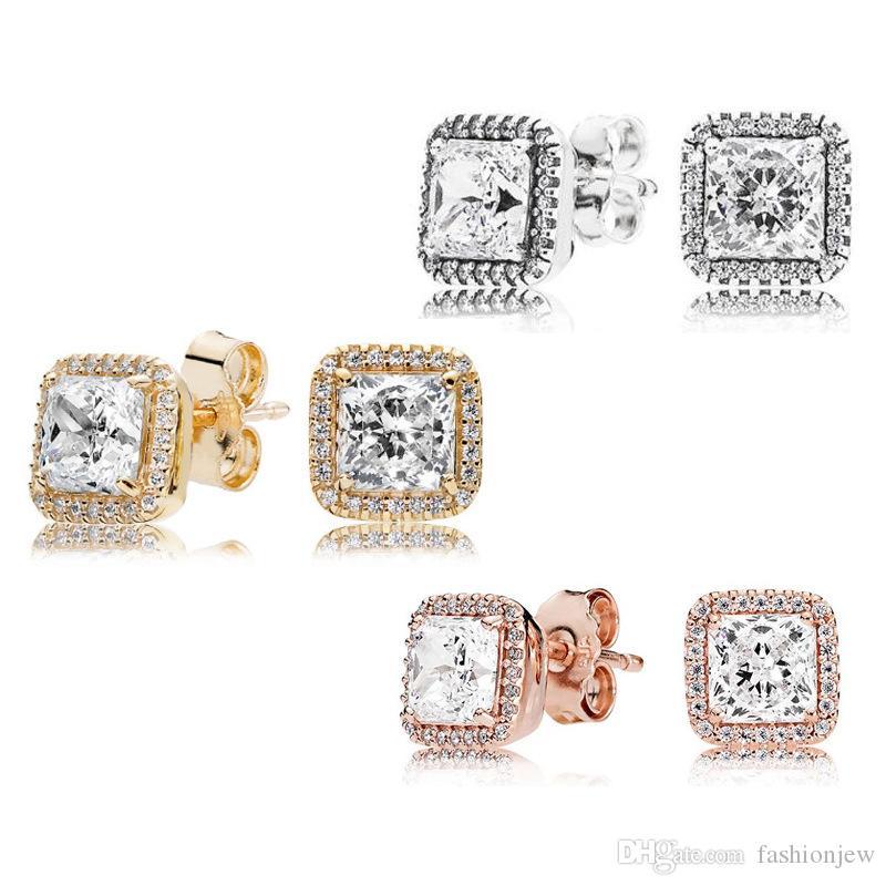 925 Sterling Silver Square Big CZ Brinco de Diamante Fit Pandora Jóias ouro rosa banhado Brinco Mulheres Brincos-JJE012