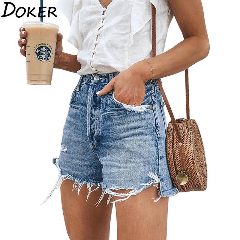 Fidanzato Jeans per le donne 2020 Estate Ripped Jeans a vita alta più il formato scarno diritto Breve Feminino Shorts delle donne sexy