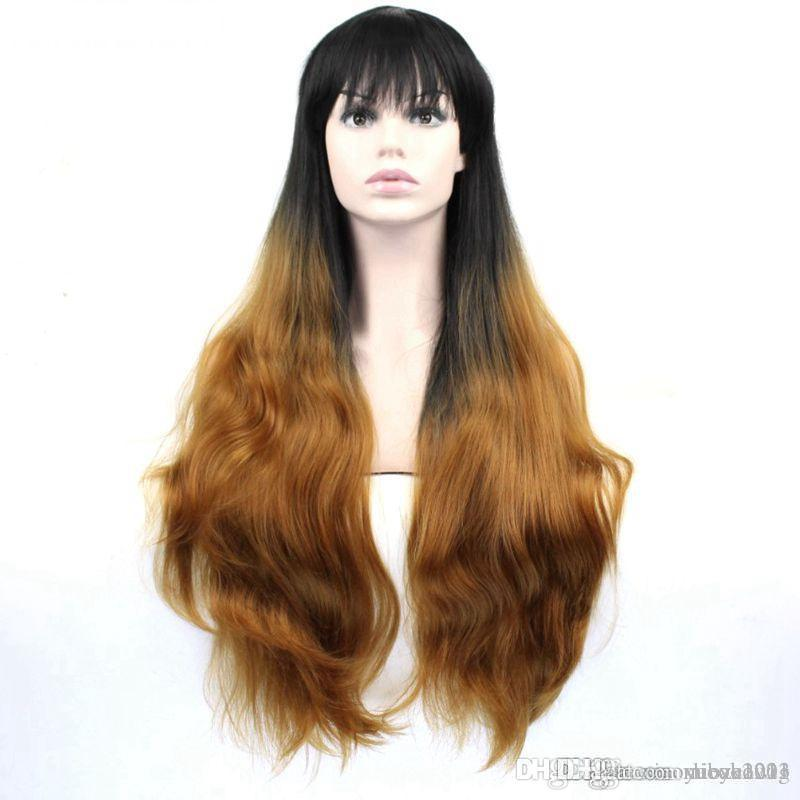 Black to brown Ombre wig 70 cm long Wavy Synthetic High Temperature Fiber Hair For Women Wigs