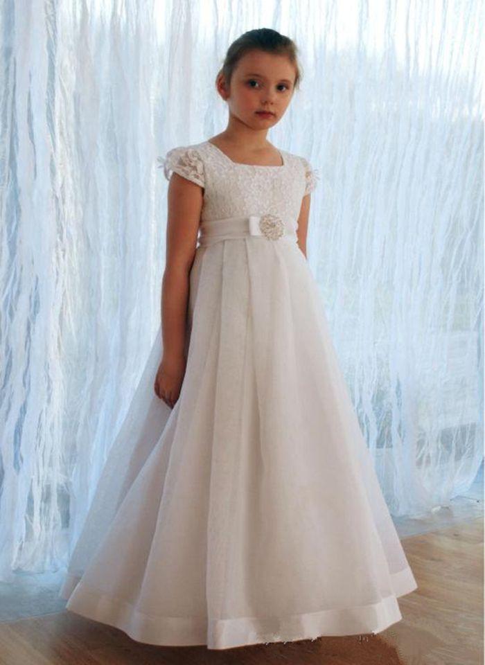 Длина Ivory White Lace цветок девушка платье пола мантия девушка причастие платье принцессы платье