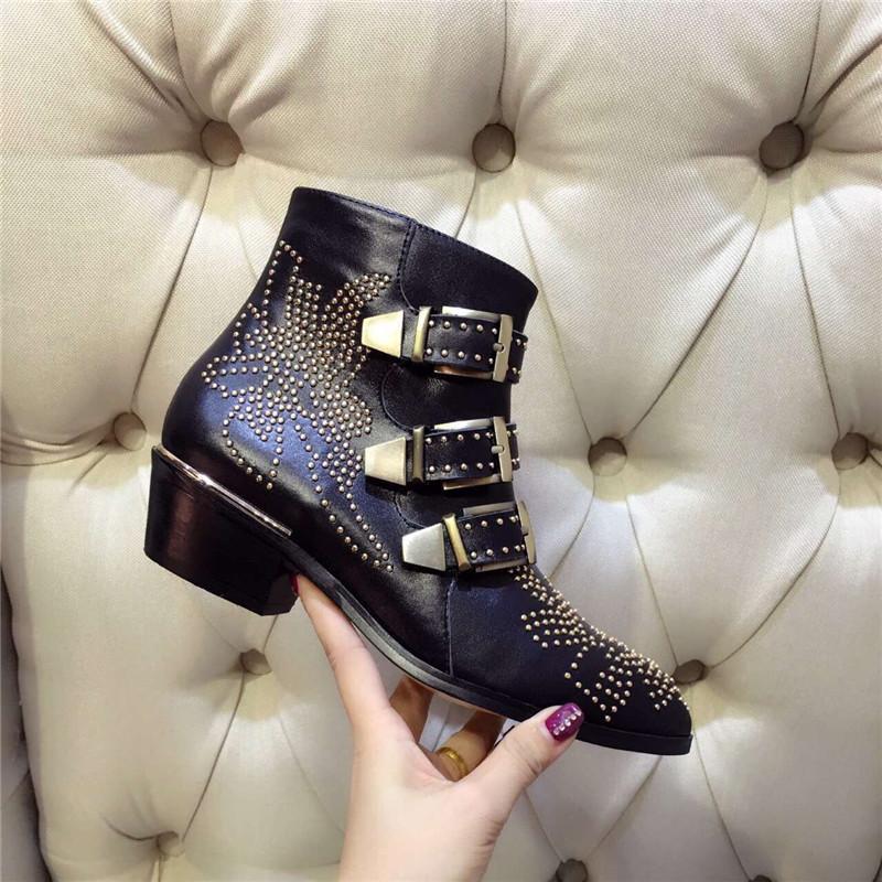 SpringFall Botines de hebilla de cuero con tachuelas Susanna de forro superior para mujer Zapatos de tacón de punta redonda Zapatos de mujer Zapatos de mujer
