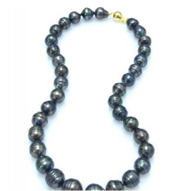 ожерелье Бесплатная доставка + + + натуральный барокко 12 мм таитянский павлин зеленый жемчуг ожерелье