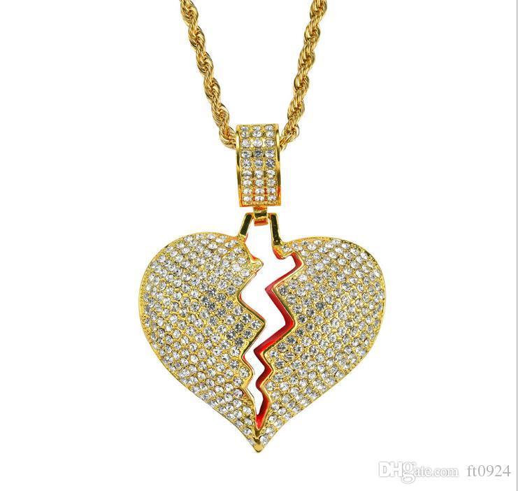 Взрывоопасные европейские и американские модные личности привлекательные очертания сердца мужчины и женщины висят в хип-хоп бутике Ожерелье Алло
