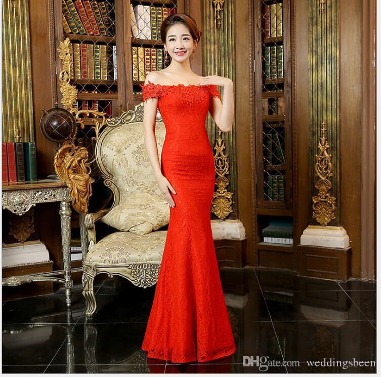 العروس نخب الملابس شيونغسام اللباس الجديد الكتف كلمة ذيل السمكة طويلة ضئيلة مساء اللباس الأحمر
