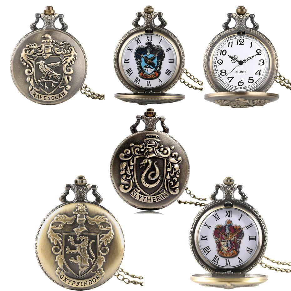 Película caliente de cuarzo relojes de bolsillo de Extensión de Ravenclaw / Slytherin / Gryffindor temático del bronce del collar del reloj unisex Relojes Vintage