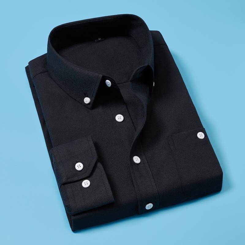 5XL Uzun Kollu Biçimsel Katı Erkekler Gömlek Turn-aşağı Yaka Erkek İş Elbise Moda Gömlekler CAMISAS Masculina Tops