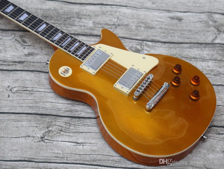 ¡promoción! Guitarra eléctrica, la parte superior de oro, en la acción, enviado hacia fuera rápidamente