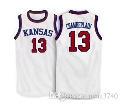 Benutzerdefinierte Männer Jugend Frauen Weinlese # 13 Wilt Chamberlain Kansas Jayhawks KU Basketball-Jersey-Größe S-4XL oder benutzerdefinierten beliebigen Namen oder Nummer Jersey