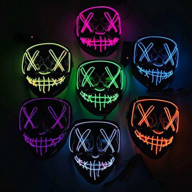 Neon LED Cadılar Bayramı Maskesi Light Up Korkunç Kafatası Yüz Maskesi Komik Maskeleri Masquerade Maskeleri Parti Cosplay Kaynağı Hediye VT0382