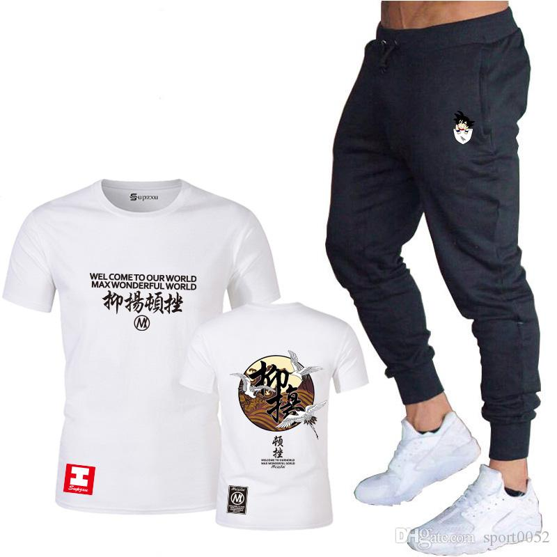 2020 novo de mangas curtas T-shirt 3D T-shirt dos homens de compressão de fitness Captain America + calças Pista Masculina Camisa punição terno
