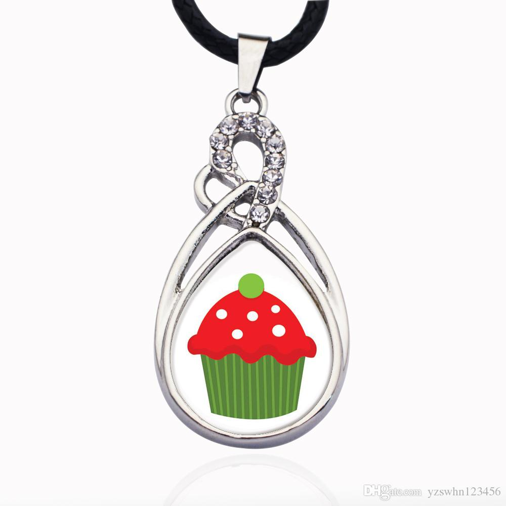 Holiday Cupcake Circle Charm Collar para estrellas de cristal Colgante Cadena Collares gargantillas Joyería de moda
