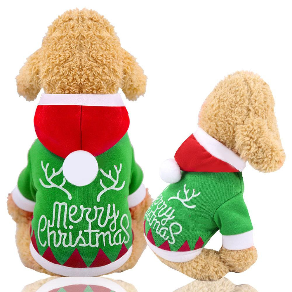 عيد الميلاد الجديد كلب الملابس تأثيري الشتاء سانتا إلك معطف الملابس كلب عيد الميلاد اللباس سترة هوديي لطيف جرو الزي
