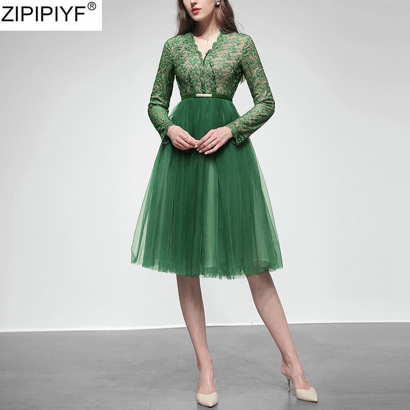 2020 Merletto elegante delle donne di nuovi arrivi primavera Mesh Dress temperamento Patchwork Pizzo Alto Vita manica lunga A-Line Abiti