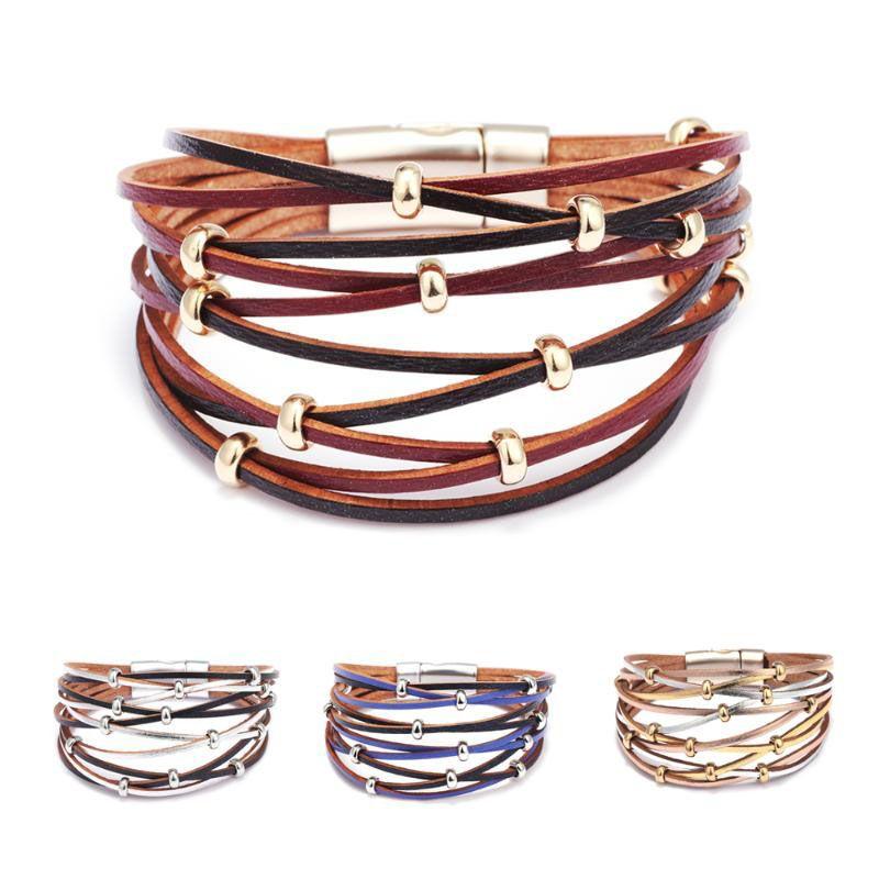Las pulseras de cuero de múltiples capas para Metal mujeres de moda encanto de los granos amplia gama de joyas imán pulseras del abrigo brazaletes Femme Mujer