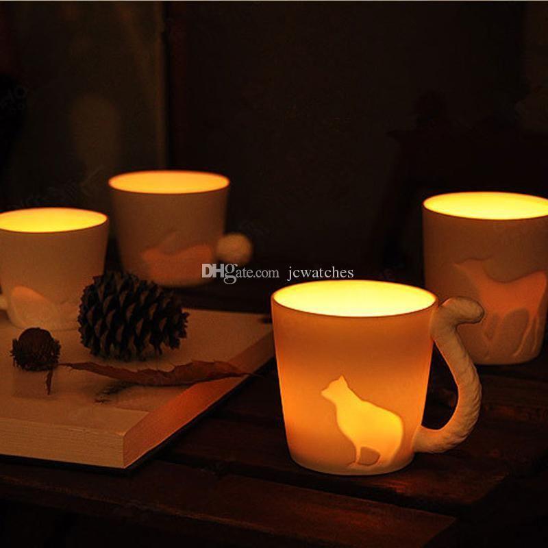 5 стиль животных чашки с розничной упаковке матовый керамический подсвечник кружки белка кошка кролик олень лошадь дизайн молоко чашки продвижение подарки