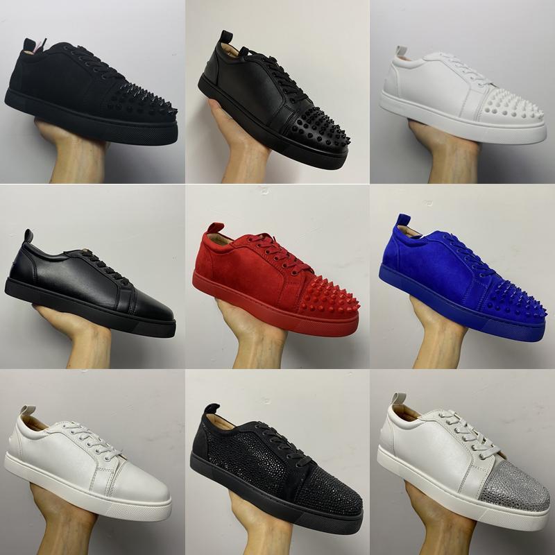 أزياء الرجال النساء الأحمر القيعان أحذية جديد المسامير منخفض أعلى حذاء مسطح المدربين Orlato الأزرار الدانتيل متابعة أولي حفل زفاف مع صندوق الاتحاد الأوروبي 36-47